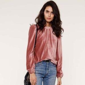 NWT Heartloom Alli velvet sweatshirt blush pink